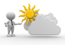 Businessman. 3d people - man, person standing near to a cloud and a sun. Drawing. Businessman Stock Images