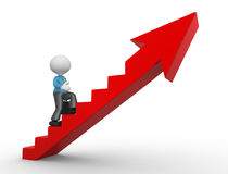 Businessman. 3d people - man, person climbing stairs and an arrow . To Success. Businessman Stock Image