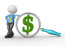 Businessman. 3d people - man, person with magnifying glass and a dollar sign. Businessman Stock Image
