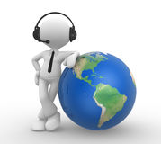 Businessman. 3d people - man, person with headphones and the earth globe Royalty Free Stock Photos