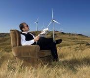 Businessman. Concept of renewable energy businessman royalty free stock photos