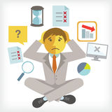 Businessman. Busy Businessman with multi tasking and multi skill Royalty Free Illustration
