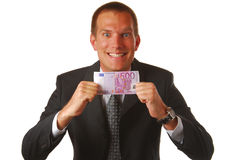 Businessman with 500 EUROS Stock Photos