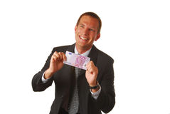Businessman with 500 EUROS Royalty Free Stock Photography