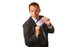 Businessman with 500 EUROS Stock Photography
