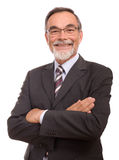 Businessman. Senior businessman smiling. Isolated over white Royalty Free Stock Photo
