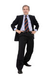 Businessman. Happy businessman with a funny posture isolated on white Royalty Free Stock Image
