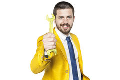 Businessman is able to mend any business. Business man is able to mend any business stock photography