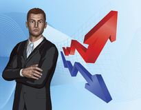 Businessman abstract arrow graph background Royalty Free Stock Photos
