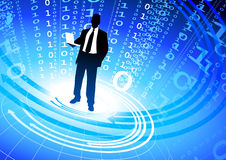 Businessman on abstract binary code background Royalty Free Stock Images
