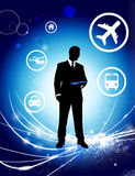 Businessman on Abstract Light Background with Icons.  Royalty Free Stock Images