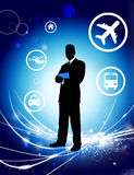 Businessman on Abstract Light Background with Icons.  Stock Image
