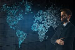 Businessman with map. Businessman on abstract polygonal map background. International business concept. Double exposure Stock Images