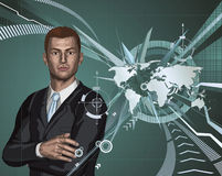 Businessman abstract world map background Stock Photo