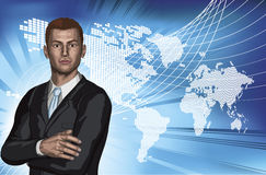 Businessman abstract world map background Stock Photos
