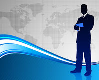 Businessman on Abstract World Map Background Stock Photo