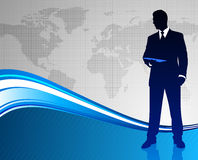 Businessman on Abstract World Map Background Royalty Free Stock Photos