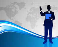 Businessman on Abstract World Map Background Stock Photography