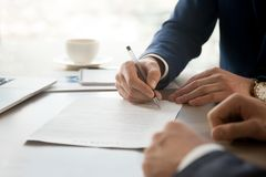 Businessman accepting business partners offer Royalty Free Stock Photo