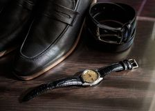 Businessman accessories. Man`s style. Men`s Accessories : Men`s butterfly, Men`s shoes , men`s watches. stock photo