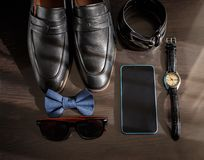 Businessman accessories. Man`s style. Men`s Accessories : Men`s butterfly, Men`s shoes , men`s watches. stock image