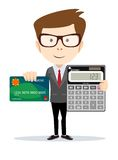 Businessman or Accountant with a Calculator Royalty Free Stock Photography