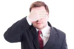 Businessman, accountant or financial manager covering eyes Royalty Free Stock Image