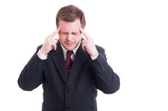 Businessman, accountant or financial manager having a migraine Royalty Free Stock Photography