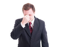 Businessman, accountant or financial manager headache Stock Image