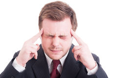 Businessman, accountant or financial manager severe headache Royalty Free Stock Image