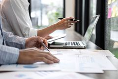 Businessman accountant and secretary making working audit and ca royalty free stock photography
