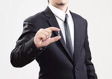 Businessman acting display problem of business very little. Background stock photo