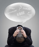 Businessman acting to suspect with his problem. Background Stock Photo
