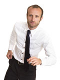 Businessman in action running Royalty Free Stock Photos