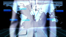 Businessman activating videos global business Stock Photos