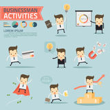 Businessman activities. On blue background vector Royalty Free Stock Photography