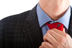 Businessman adjusting his collar Stock Images