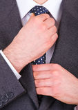 Business man adjusting his necktie. Stock Image