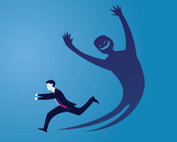 Businessman Afraid of His Own Shadow. Vector illustration. Businessman running away afraid of his own inner evil monster shadow vector illustration