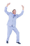 Businessman afraid of the sky. On white background stock photography