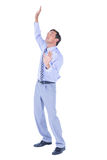 Businessman afraid of the sky. On white background stock images