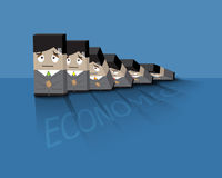 Businessman  afraid to domino effect. Businessman  afraid to face bad economic or domino effect concept Royalty Free Stock Images