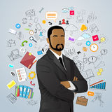 Businessman African American Race Over Doodle Hand Royalty Free Stock Photos