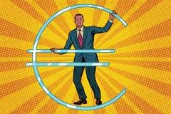 Businessman African prisoner in jail euro money. Pop art retro comic book vector illustration Royalty Free Stock Photo