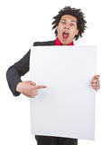 Businessman with afro with blank sign Stock Image