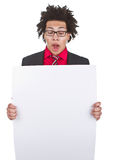 Businessman with afro with blank sign Stock Photo