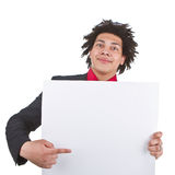 Businessman with afro with blank sign Royalty Free Stock Photography