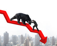 Businessman against bear on arrow downward trend line with citys Royalty Free Stock Photos