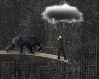 Businessman against bear balancing on plank with gray cloud rain Royalty Free Stock Photos