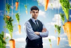Businessman against blue sky with red carrots Royalty Free Stock Photo